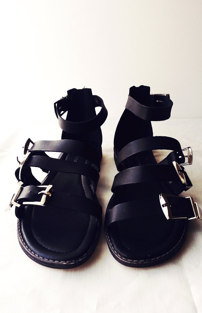 primark buckle gladiator detail black flats