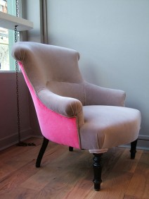 grey pink velvet chair