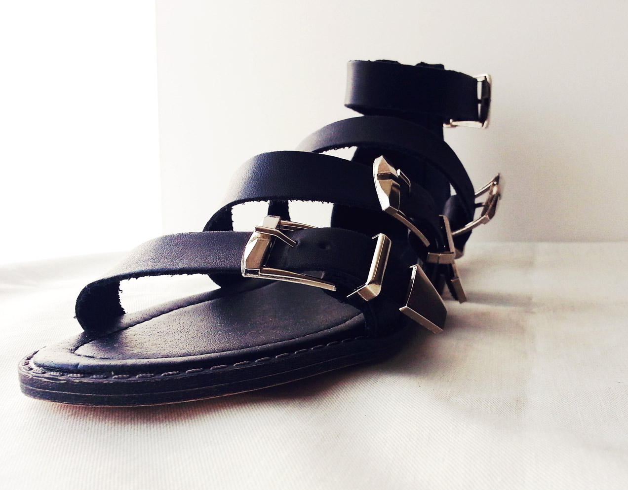 primark blck leather gladiator sandals