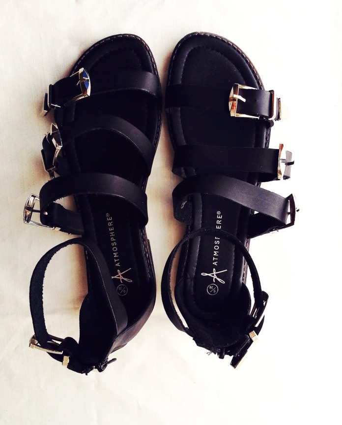 black primark buckle gladiator sandals