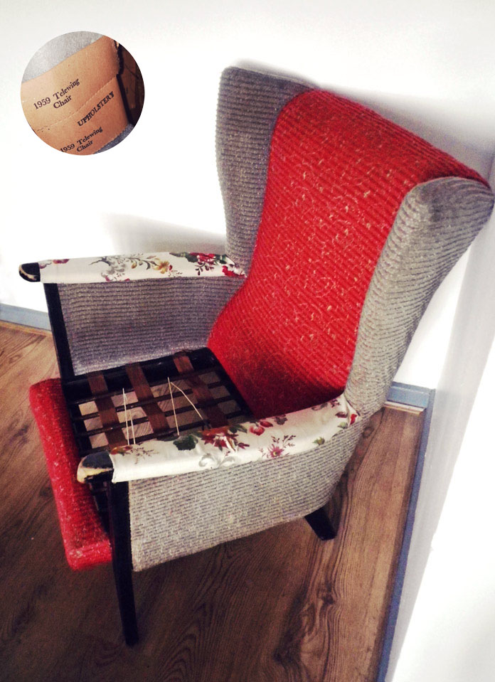 vintage 50's wingback chair