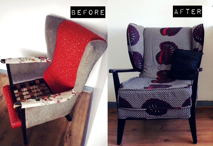 TheSecretCostumier - Reupholstered wingback chair before and after