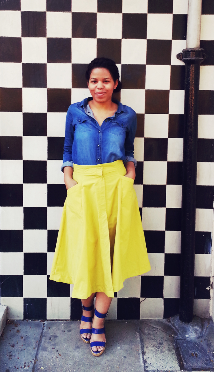 TheSecretCostumier - A-line skirt with denim shirt