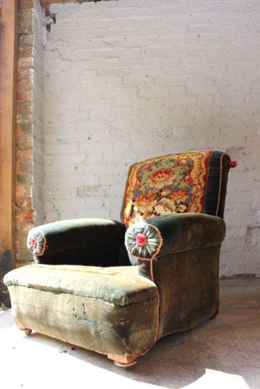 vintage velvet armchair